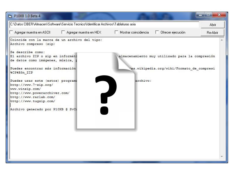 Utilidad para identificar archivos desconocidos