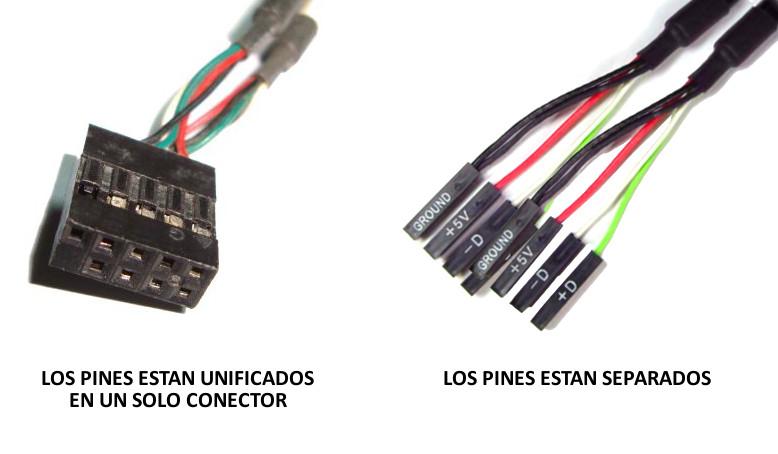 Conexiones USB en Motherboard