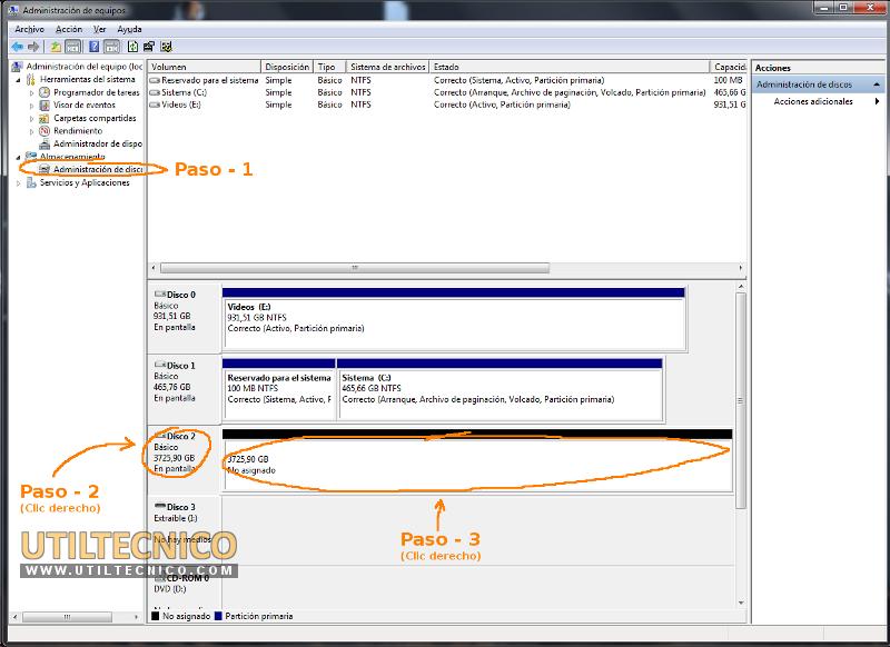 Como instalar un disco de 4 Tb en Windows 7