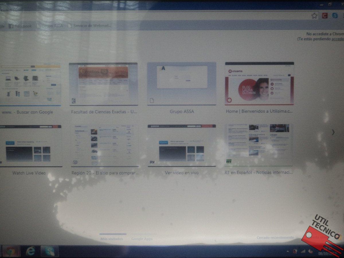 Imágenes de fallas en pantallas de notebook