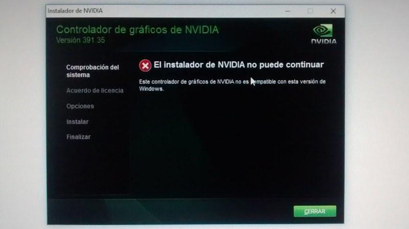 El instalador de NVIDIA no puede continuar. Problema al instalar driver