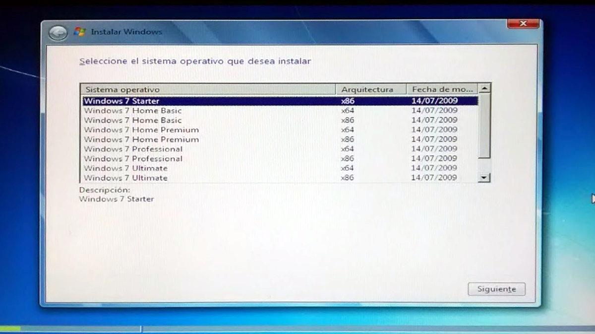 Imagen 4. Elegir sistema a instalar.