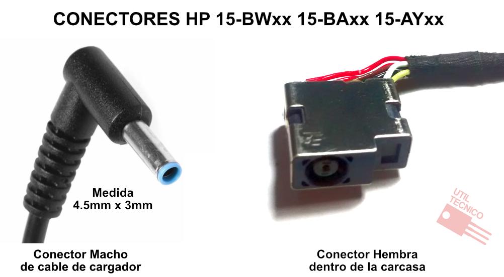Diagrama de conexiones del conector DC y ficha de cargador de HP 15-BWxx 15-BAxx 15-AYxx