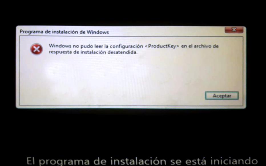 Windows no pudo leer la configuración <ProductKey> en el archivo de respuesta de instalación desatendida
