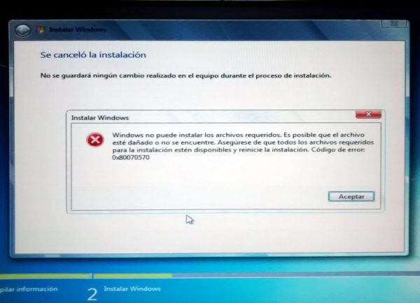 Error 0x80070570. Se canceló la instalación.