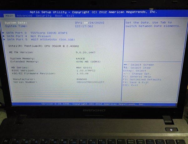 Como entrar al BIOS de notebook Bangho Max G01
